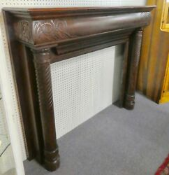 ANTIQUE Solid Wood Victorian Fireplace Mantle wCarved Scrolls + Columns. 1850