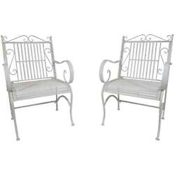 Titan Antique White Metal Chair Porch Patio Garden Deck Decor Backyard - Pair