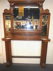Antique Oak Fireplace Mantle. 3 Beveled Mirrors. 2 Columns. 84