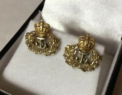 Vintage Hallmarked 9ct 9k Yellow Gold Seed Pearl Royal Navy Sweetheart Earrings
