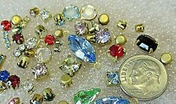 SWAROVSKI MIXED SHAPES SINGLE RHINESTONES IN SETTINGS 50 CRYSTAL LOT VTG JEWELRY