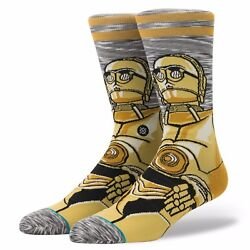 NWT STANCE STAR WARS ANDROID C3PO SOCKS L $22 Grey Yellow C3PO Character design $15.00