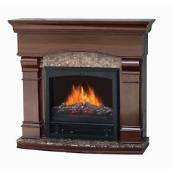 Decor-Flame Electric Fireplace With 47 Mantle Walnut Classic Design Realistic