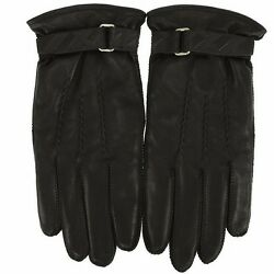 NEW BURBERRY MEN'S BLACK LEATHER EMBOSSED STRAP CASHMERE LINING TOUCH GLOVES 9