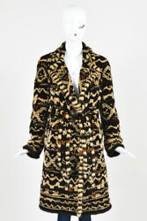 Dennis Basso Sheared Mink Brown Multicolor Patterned Belted Fur Coat with Scarf
