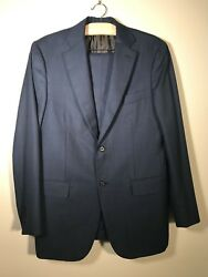 Isaia Navy BlueBrown Pinstripe 100% Lana Wool Double Button Suit Size 52L