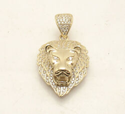 Mens Full Pave Set CZ Roaring Lion Head Charm Pendant Real Solid 10K Yellow Gold