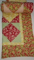 Vintage Quilt Rose Yellow Green Floral with Shams 86 x 86 Full Queen Reversable