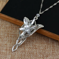 Lord of The Rings Arwen's Necklace arwen evenstar pendant crystal SILVER PLATED!