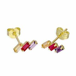 Real 375 9ct Gold & Three Coloured CZ Crystals Stud Earrings Red Clear Purple