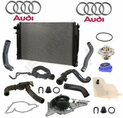 For Audi S4 Manual Cooling Kit Radiator & Hoses Water Pump Thermostat Tank Cap