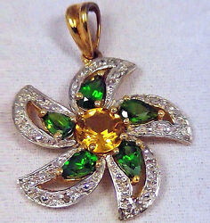 14Kt Yellow Gold Rd CITRINE & Chrome Diopside Pear Shape PENDANT 1.63ctw NEW!