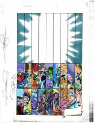 Original 1998 Marvel Avengers 1 color guide art:Perez SubmarinerShe-HulkSIGNED