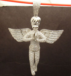 Bold 3D Pave CZ Cherub Praying Angel Charm Pendant Real Solid Sterling Silver