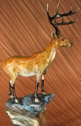 Deer Stag Buck Hunter Wildlife Mountain Lodge Cabin Bronze Marble Base Art Decor