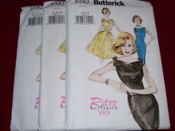 BUTTERICK #6582 - RETRO 1960 - LADIES WIGGLE or POOF PARTY DRESS PATTERN 6-22 FF $7.99