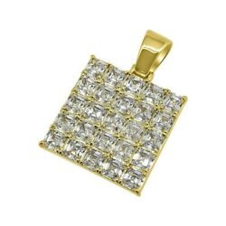 Gold Exotic Asscher Cut Iced Out Medallion for Chain Necklace