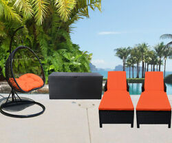 4PC Outdoor Patio Wicker Furniture #2 Egg Shape Swing Chair Sun Bed Storage Box