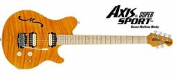 New MUSIC MAN AXIS SUPER SPORT Semi-Hollow Translucent Gold Maple MH Guitar
