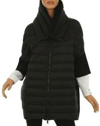NEW MONCLER LADIES BLACK GOOSE DOWN PADDED WOOL ZIPPED JACKET SWEATER S SMALL