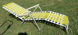 Vintage Aluminum Folding  Plastic Strapping  Lawn Chair  Yellow White