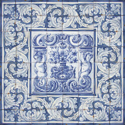 Portuguese Traditional Clay Tiles Azulejos Mural Panel - FLOWER VASES ALBARRADA