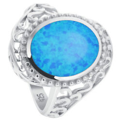 925 Sterling Silver Extravagant Oval Created Blue Opal Ring Size 4 - 10