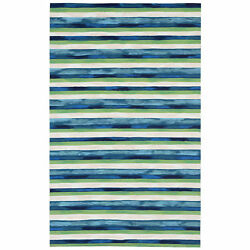Liora Manne Visions II Painted Stripes IndoorOutdoor Rug Blue 5' X 8'