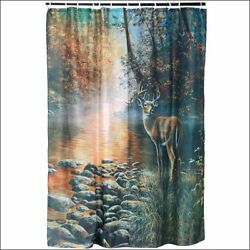 RIVERS EDGE HOME DÉCOR BATHROOM OUTDOOR CURTAIN WATER SHED W 12 RINGS