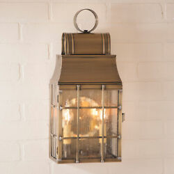 Weathered Brass LANTERN WALL LIGHT with Seedy Glass Colonial Outdoor Sconce USA