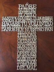 Wood Cross Oracion Padre Nuestro Cross Our Father Prayer wall hanging