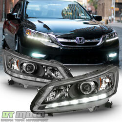 For 2013 2014 2015 Honda Accord Sedan Halogen w LED DRL Headlights Headlamps $209.99