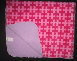 Little Miss Matched Pink Purple Puzzle Pieces Baby Blanket Sherpa Back Girl