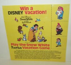 DISNEY FUNTIME GLAD BAGS WIN A VACATION PROMO SWEEPSTAKES COUPON 1983 SNOW WHITE $4.99
