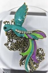 Enamel Peacock Pendant Bronze Chain Lobster Claw Clasp $10.75