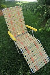 Vintage Aluminum Chair Folding Lawn Chaise LOUNGE Reclining Webbing Patio Camp