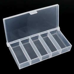 5 Compartments Clear Plastic Storage Box Jewelry Bead Screw Organizer Container
