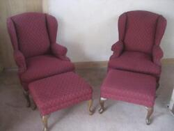 Wing Back Chairs Pair 2 Two Chairs & 2 Two Ottomans Beautiful High End LN