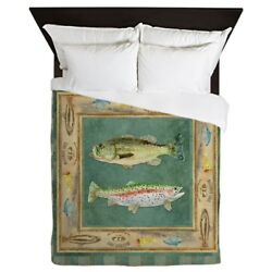 CafePress - Fishing Cabin Lake Lodge Plaid Decor - Queen Duvet