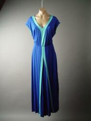 Blue Travel Beach Island Vacation Jersey Knit Long Maxi 282 mv Dress XL 2XL 3XL $28.78