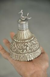Old Brass Peacock Crafted Floral Embossed Unique Shape Kumkum Powder Box $36.00