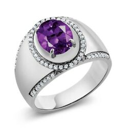 2.99 Ct Oval Purple Amethyst 925 Sterling Silver Men's Ring