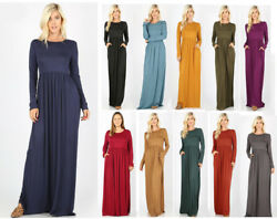 Women#x27;s Plus Casual Soft Maxi Dress Solid Basic Long Sleeve Pockets Ruched Waist $20.24