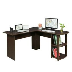 FCH Office L-Shaped Computer Desk Corner Laptop PC Table Bookshelves Dark Brown $125.99