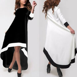 Elegant Ladies Evening Party Cocktail Shirt Dress Stripe High Low Midi Dress $10.60