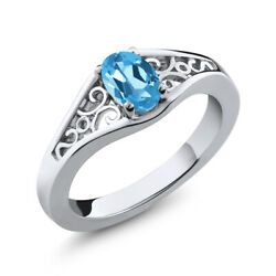 1.00 Ct Oval Blue Mystic Topaz Sterling Silver Ring