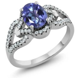 1.62 Ct Oval Purple Blue Mystic Topaz 925 Sterling Silver Ring