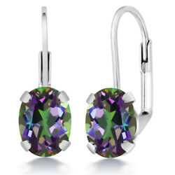 3.20 Ct Oval Green Mystic Topaz Lever Back Earrings 8X6mm