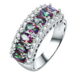 Wedding Band Cocktail Jewelry Oval Rainbow White Topaz Silver Ring Size 6 7 8 9