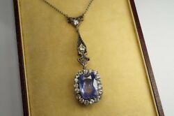 ANTIQUE SILVER BLUE & WHITE CEYLON SAPPHIRE PENDANT  LAVALIERE NECKLACE c1910